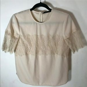 ZARA Pale Pink Lace Short Sleeve Blouse Small